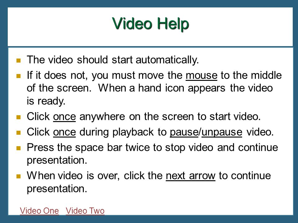 Video Help The video should start automatically.