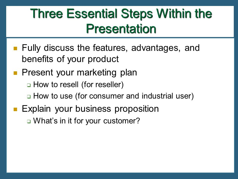 Three Essential Steps Within the Presentation