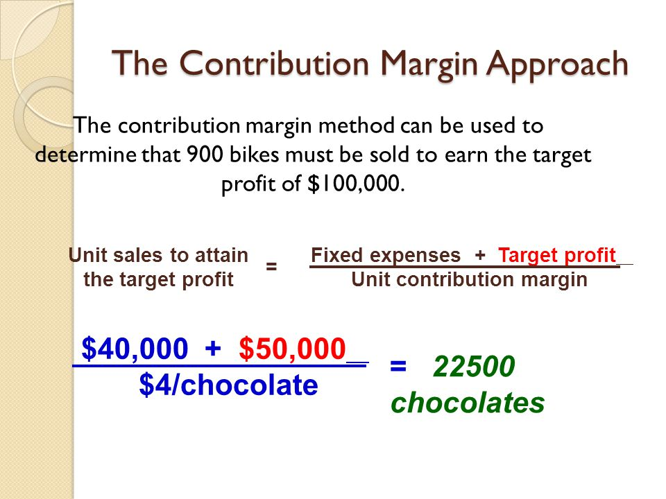 The Contribution Margin Approach