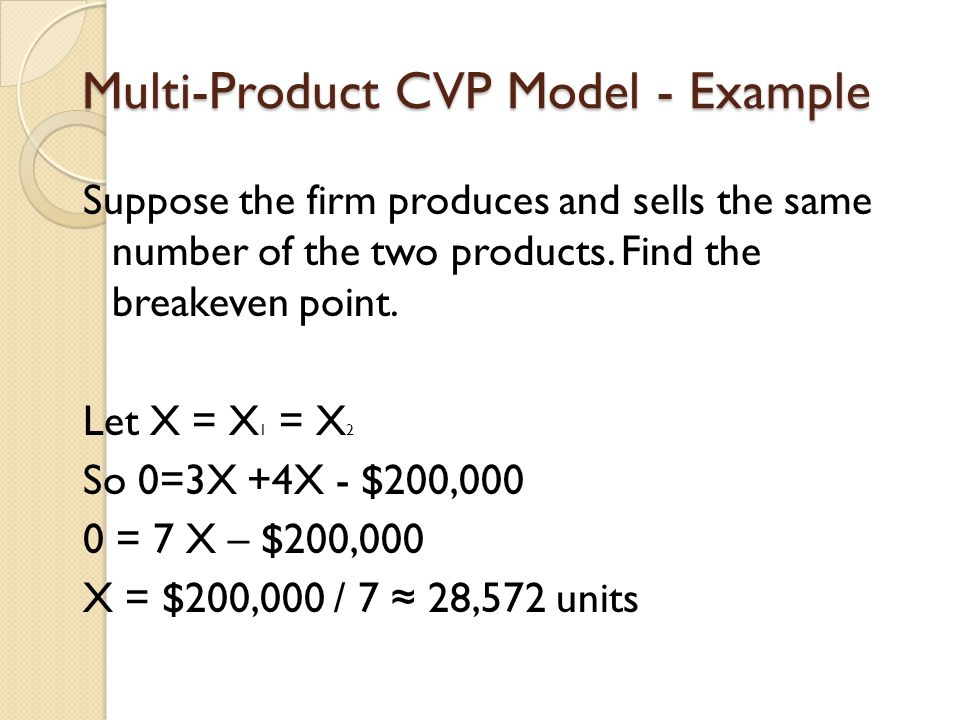 Multi-Product CVP Model - Example