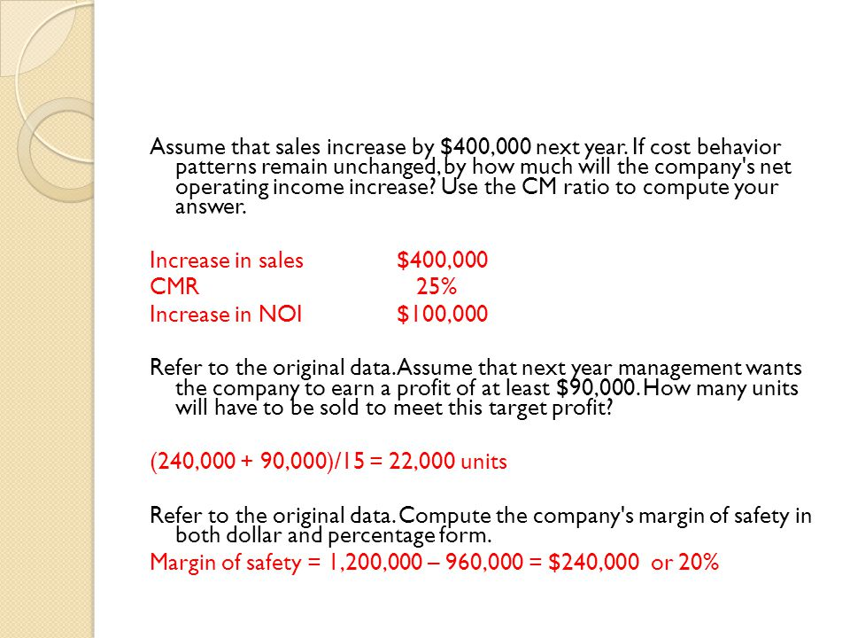 Assume that sales increase by $400,000 next year