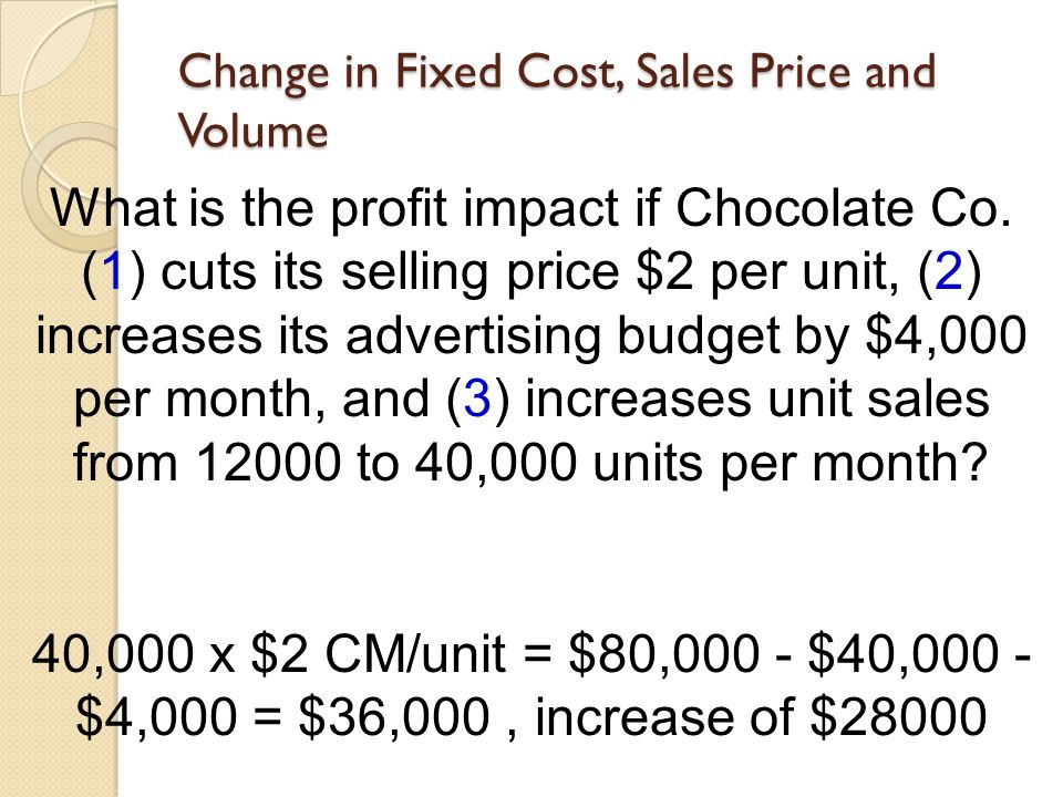 Change in Fixed Cost, Sales Price and Volume