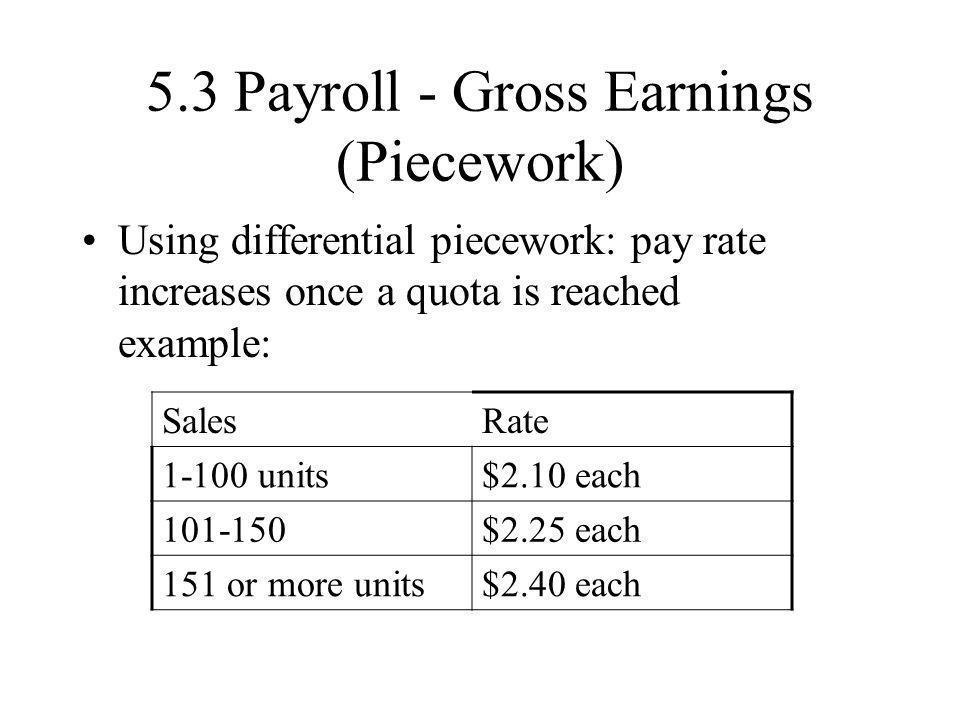 5.3 Payroll - Gross Earnings (Piecework)