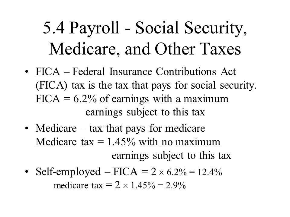 5.4 Payroll - Social Security, Medicare, and Other Taxes