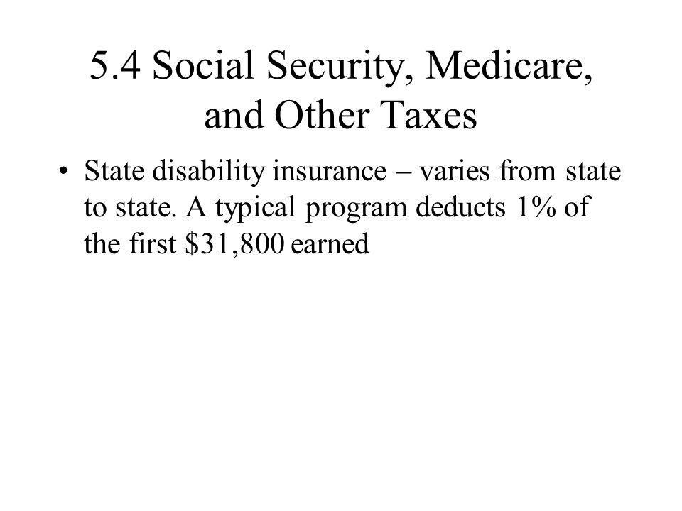 5.4 Social Security, Medicare, and Other Taxes