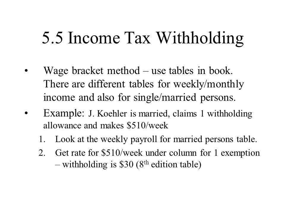 5.5 Income Tax Withholding