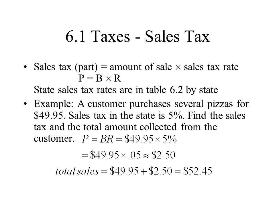 6.1 Taxes - Sales Tax Sales tax (part) = amount of sale  sales tax rate P = B  R State sales tax rates are in table 6.2 by state.