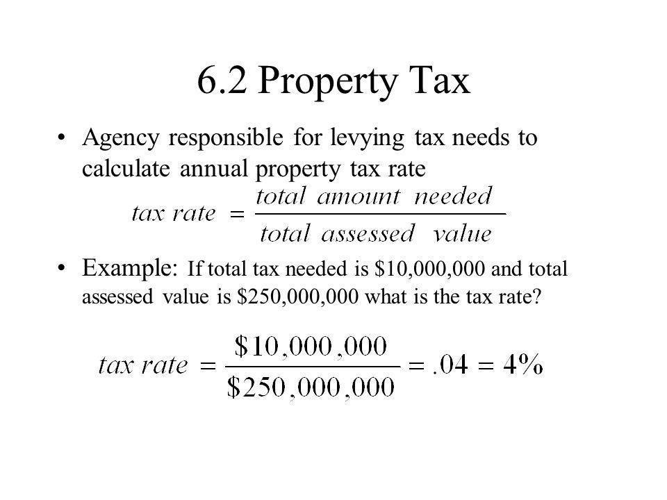 6.2 Property Tax Agency responsible for levying tax needs to calculate annual property tax rate.