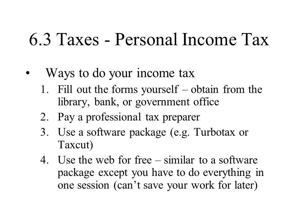 6.3 Taxes - Personal Income Tax