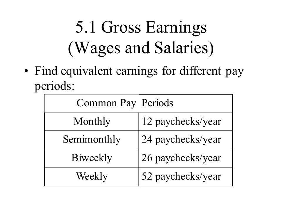 5.1 Gross Earnings (Wages and Salaries)