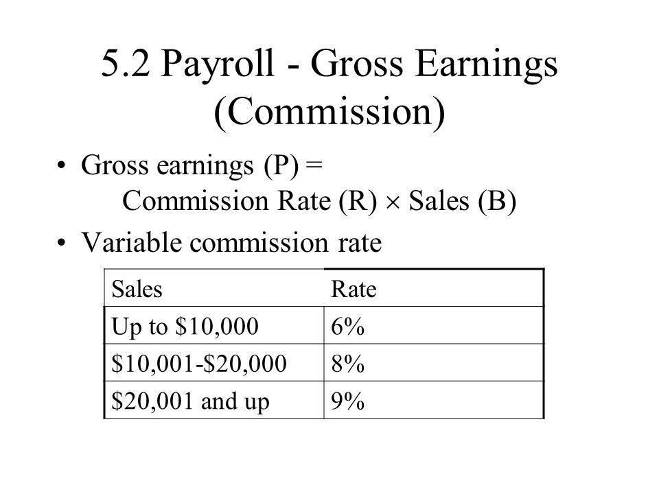 5.2 Payroll - Gross Earnings (Commission)
