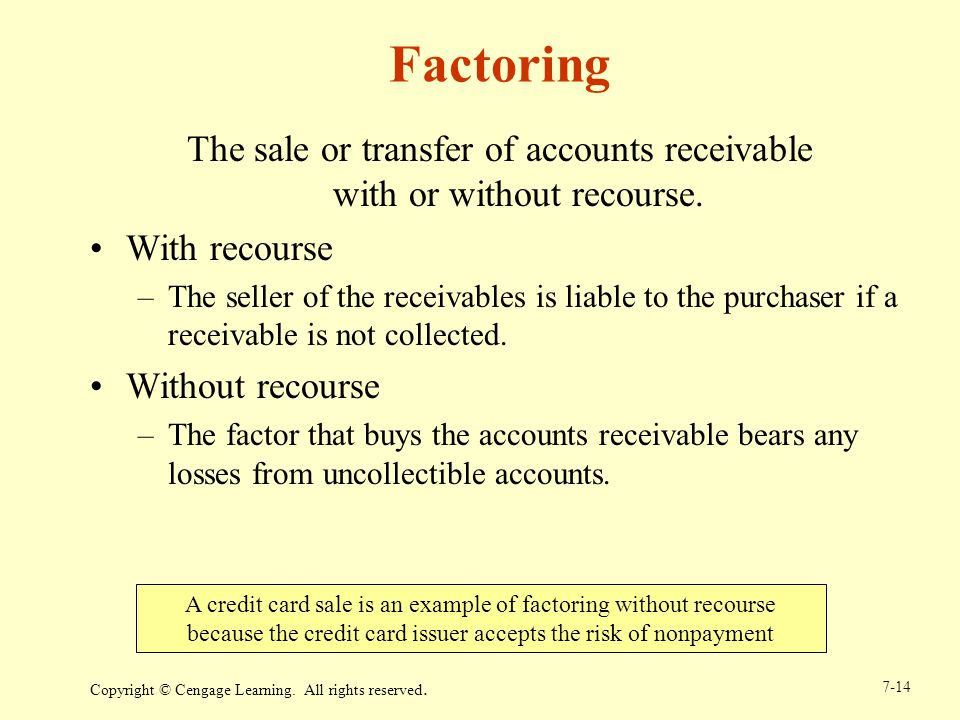 The sale or transfer of accounts receivable with or without recourse.