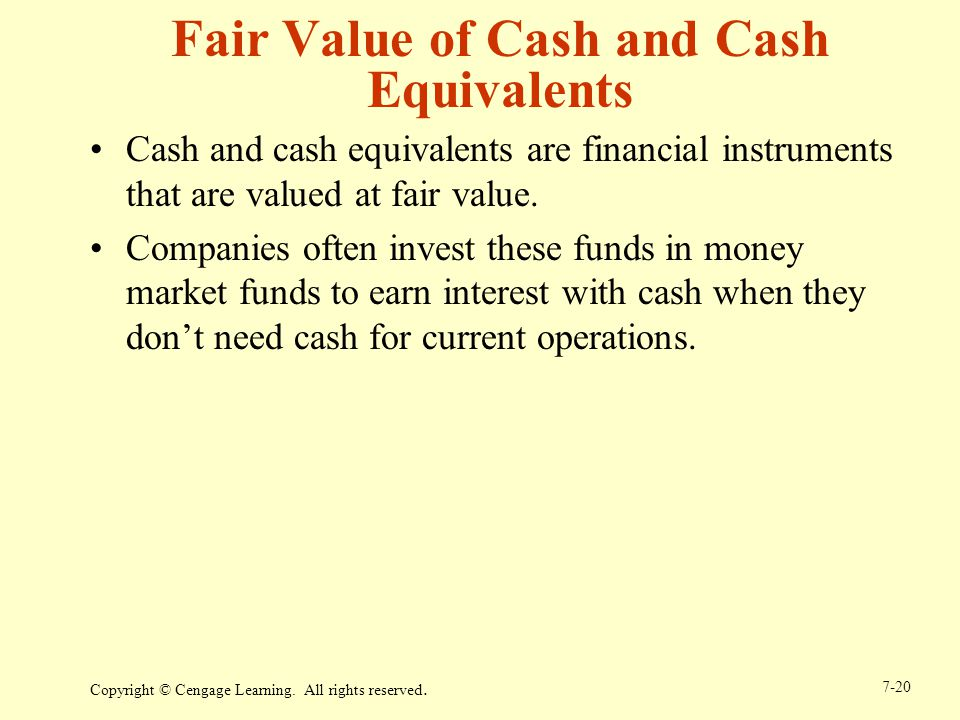 Fair Value of Cash and Cash Equivalents