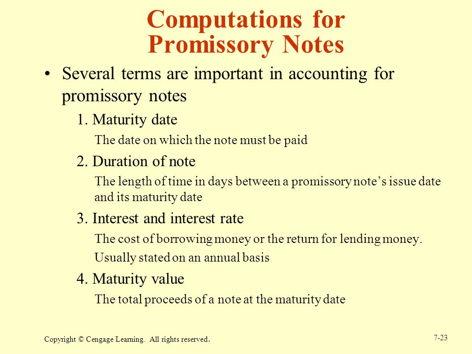 Computations for Promissory Notes