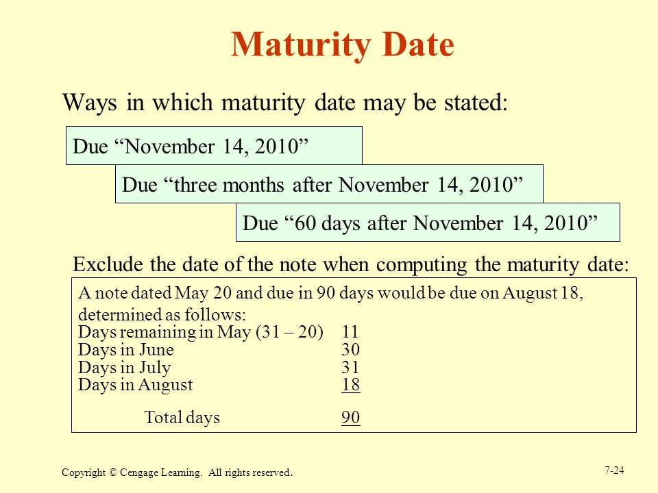 Maturity Date Ways in which maturity date may be stated: