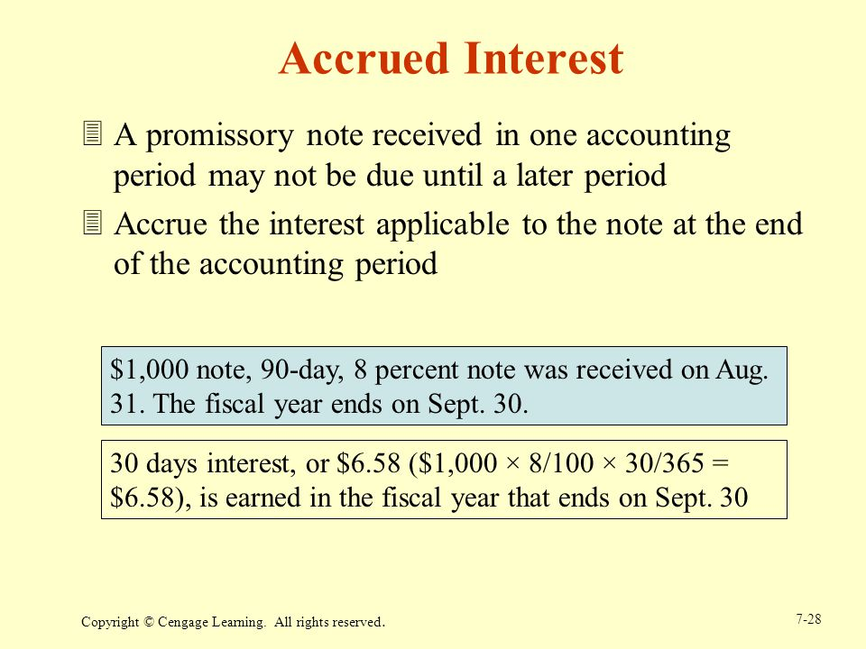 Accrued Interest A promissory note received in one accounting period may not be due until a later period.