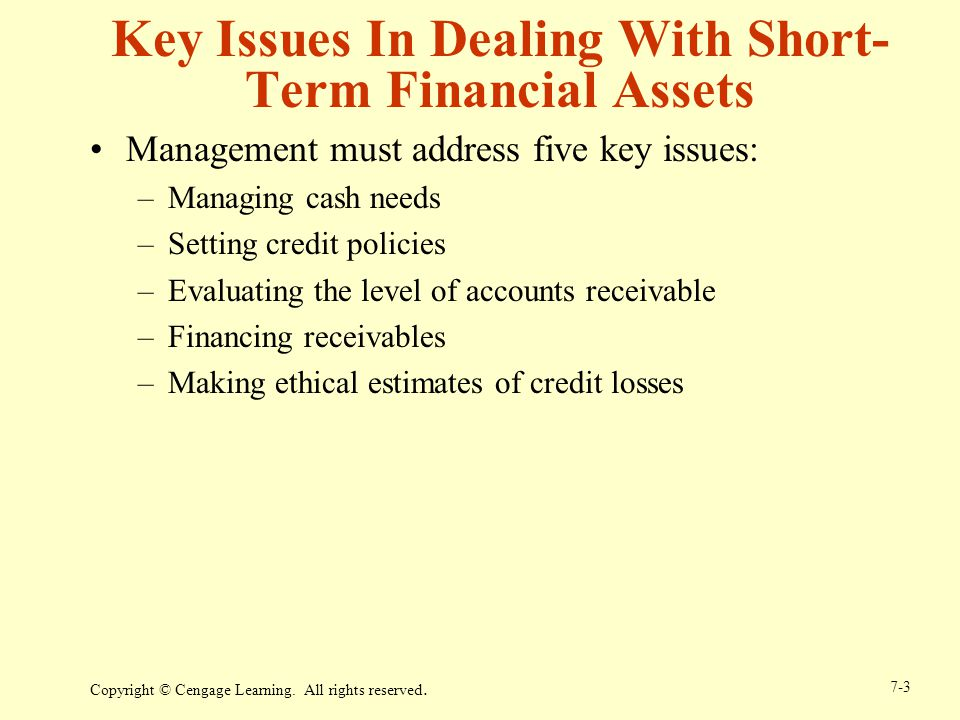 Key Issues In Dealing With Short-Term Financial Assets
