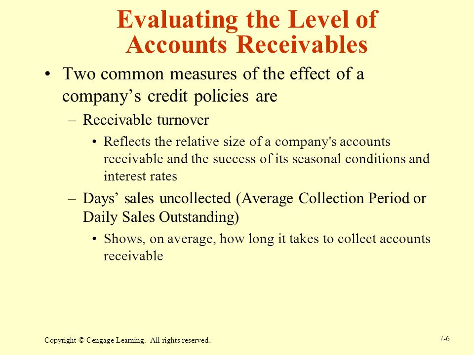 Evaluating the Level of Accounts Receivables