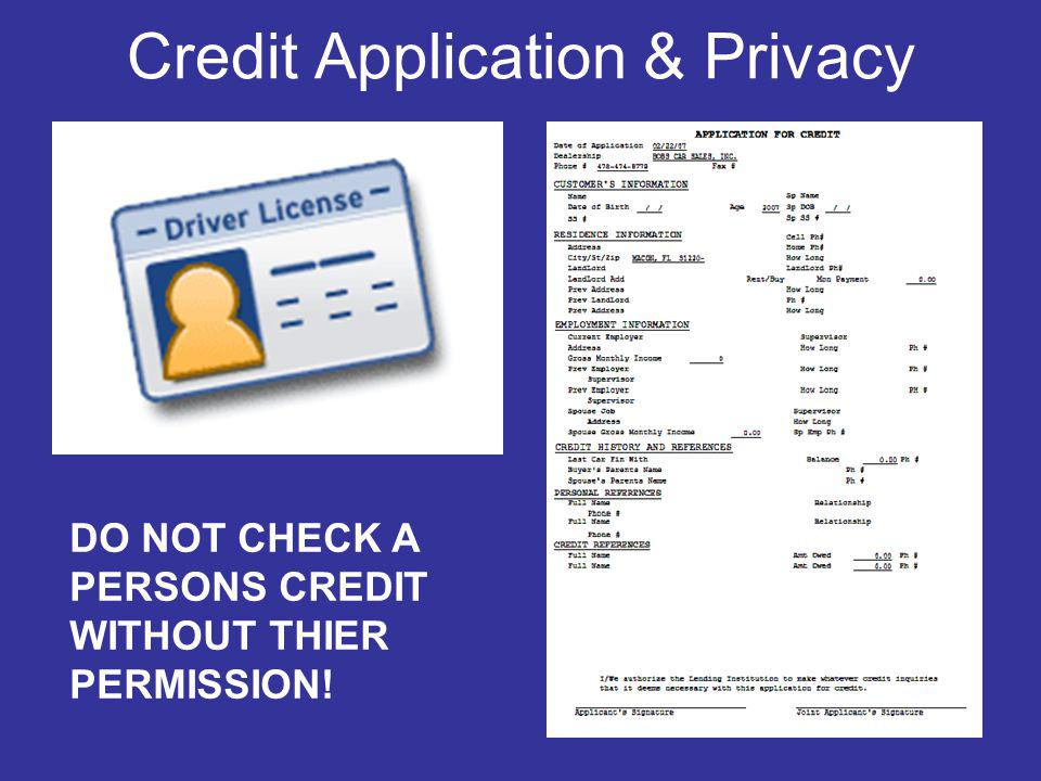 Credit Application & Privacy