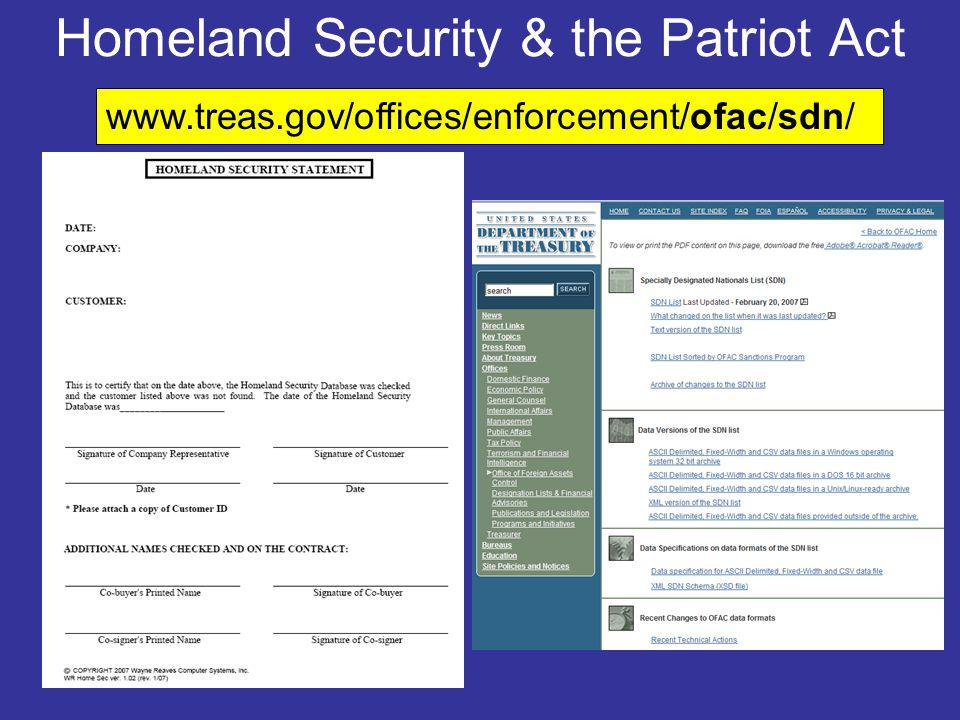 Homeland Security & the Patriot Act