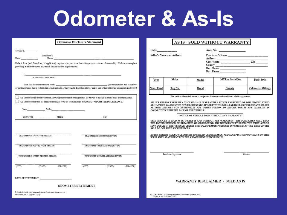 Odometer & As-Is