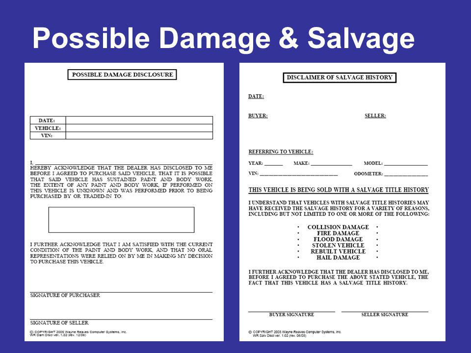 Possible Damage & Salvage
