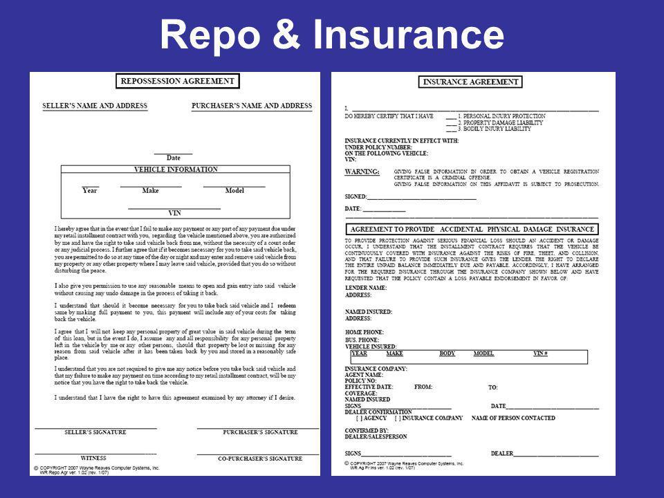 Repo & Insurance