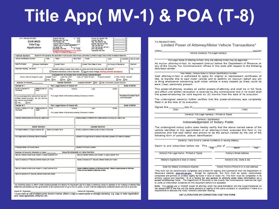 Title App( MV-1) & POA (T-8)