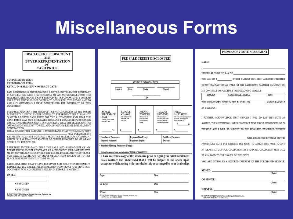 Miscellaneous Forms