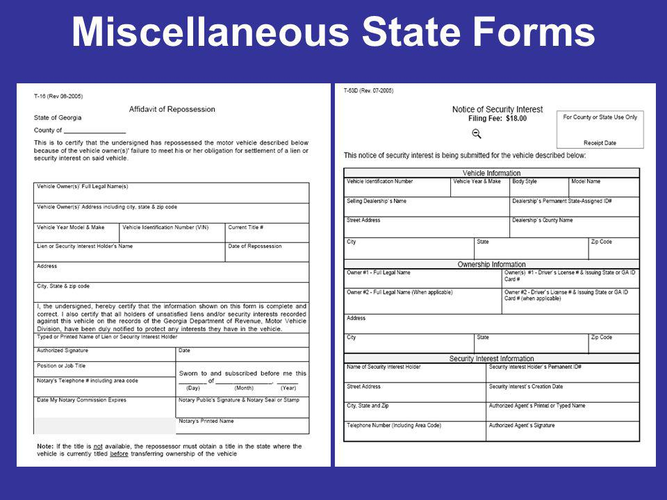 Miscellaneous State Forms