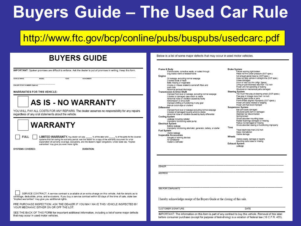 WARRANTIES FOR THIS VEHICLE: AS IS - NO WARRANTY …