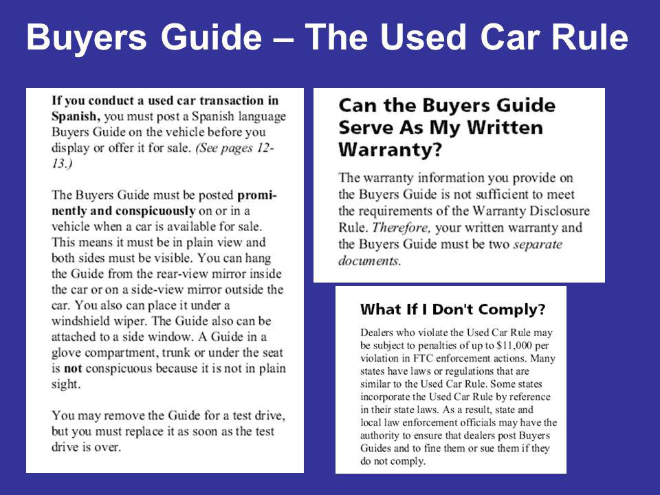 Buyers Guide – The Used Car Rule