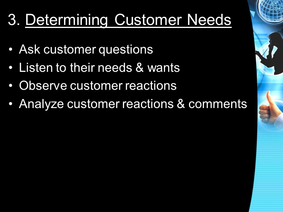 3. Determining Customer Needs