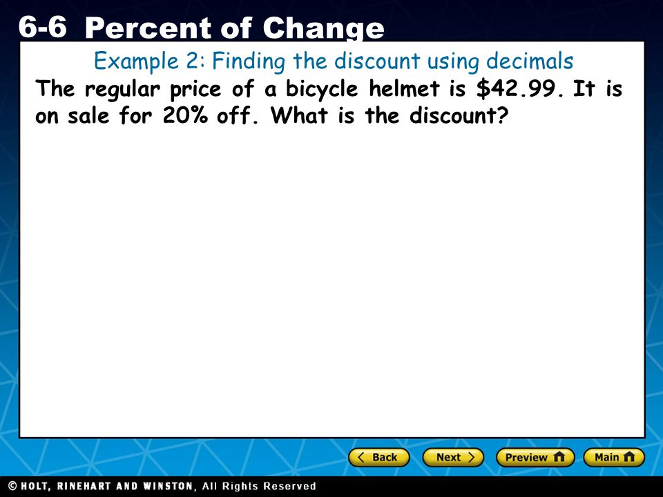Example 2: Finding the discount using decimals
