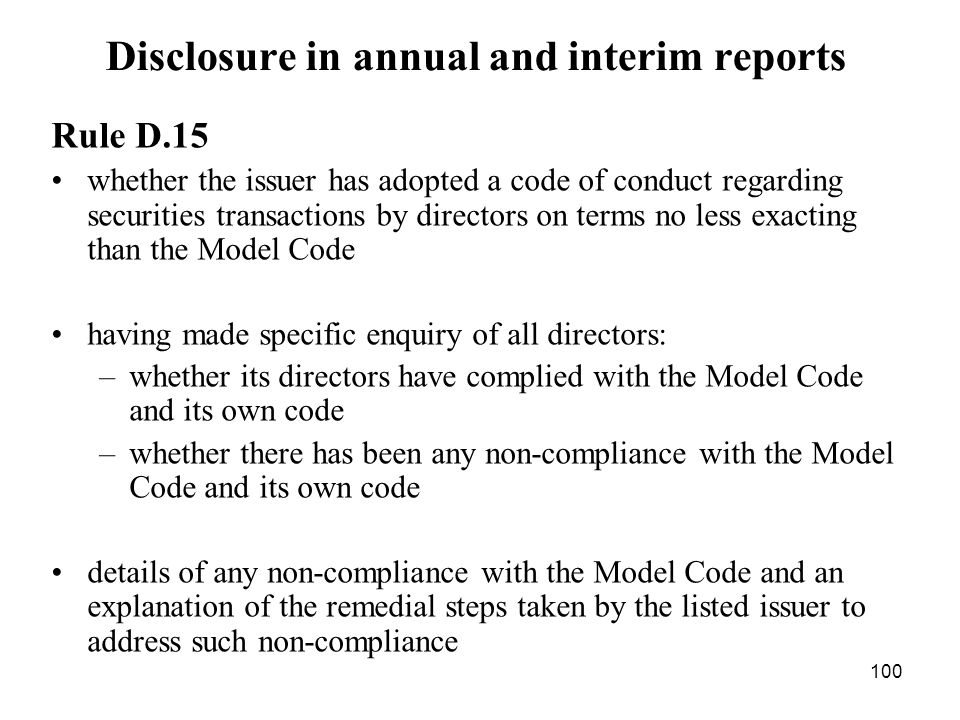 Disclosure in annual and interim reports
