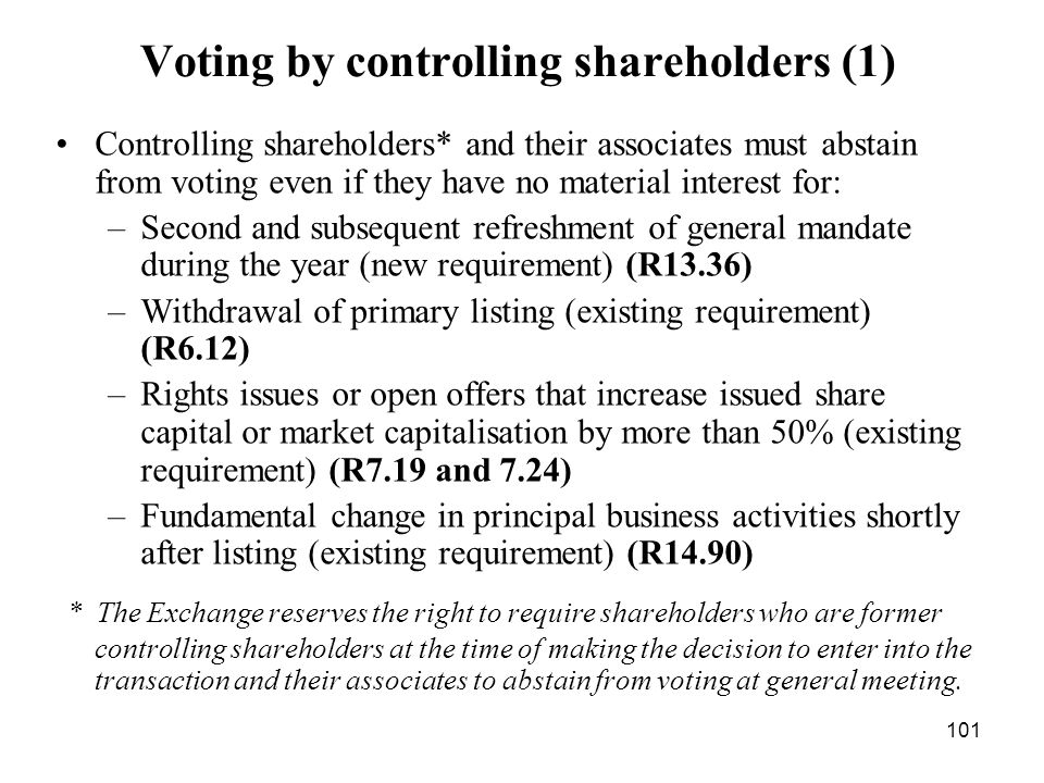 Voting by controlling shareholders (1)