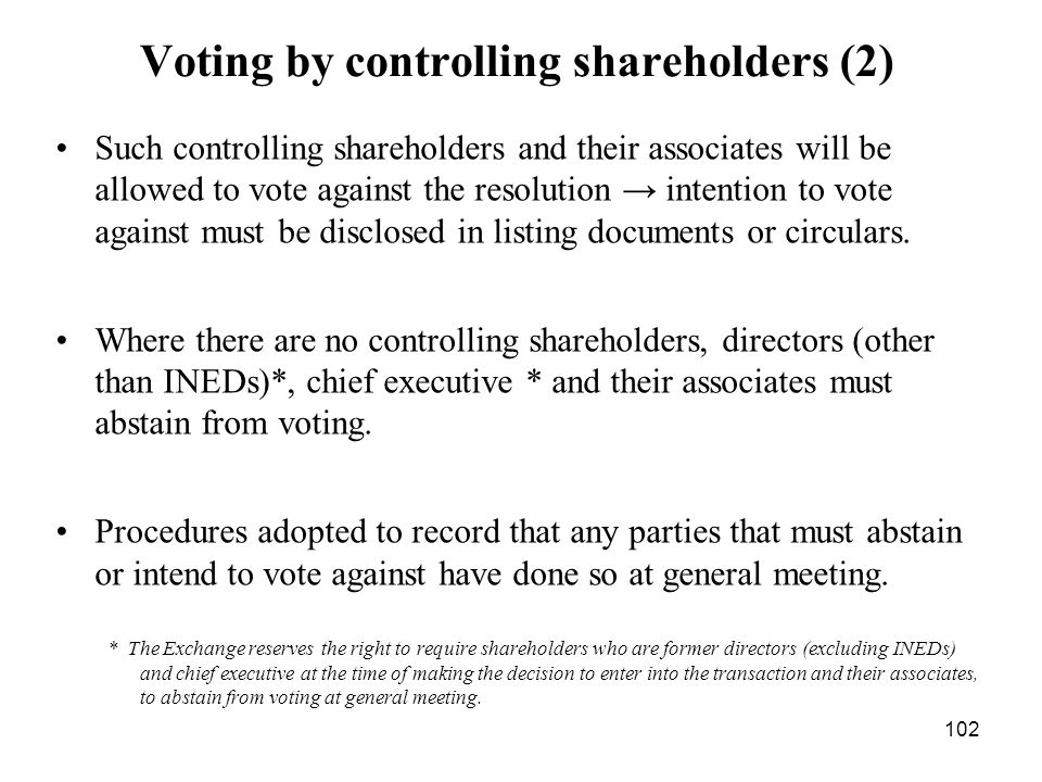 Voting by controlling shareholders (2)