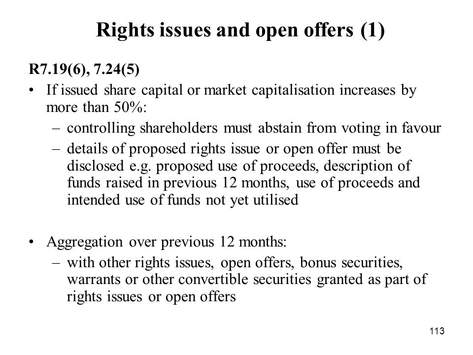 Rights issues and open offers (1)