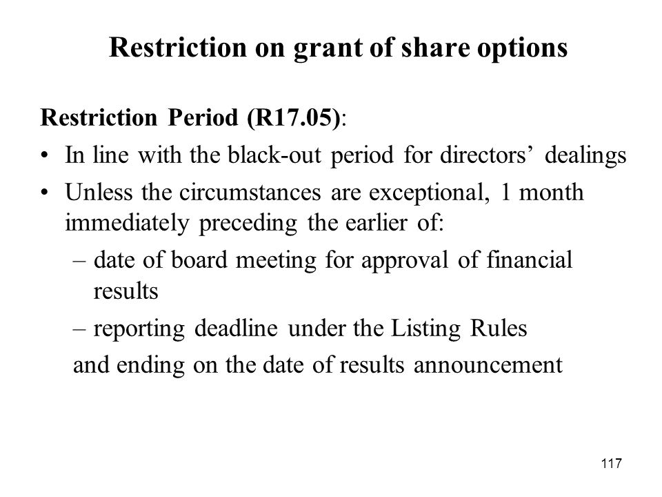 Restriction on grant of share options