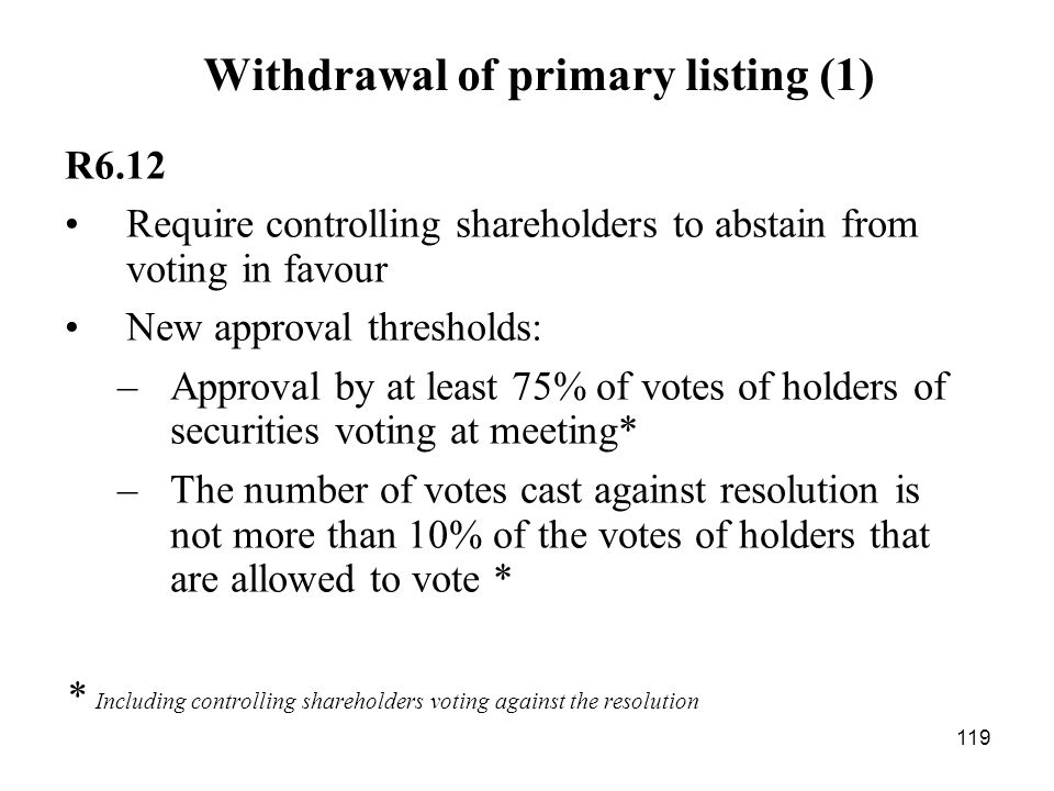 Withdrawal of primary listing (1)