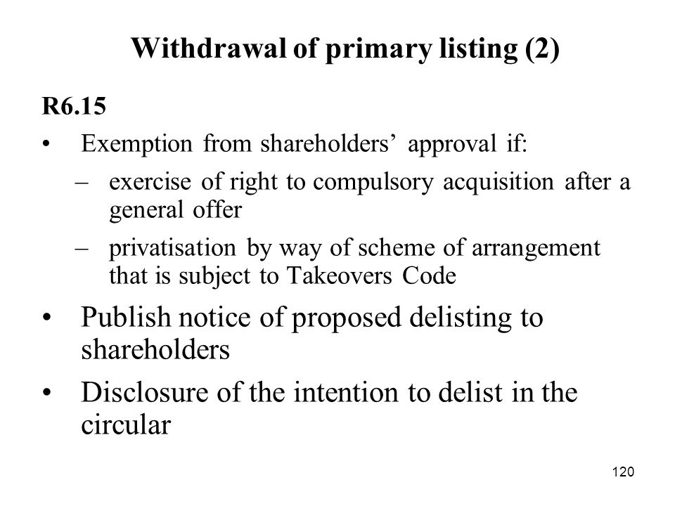 Withdrawal of primary listing (2)