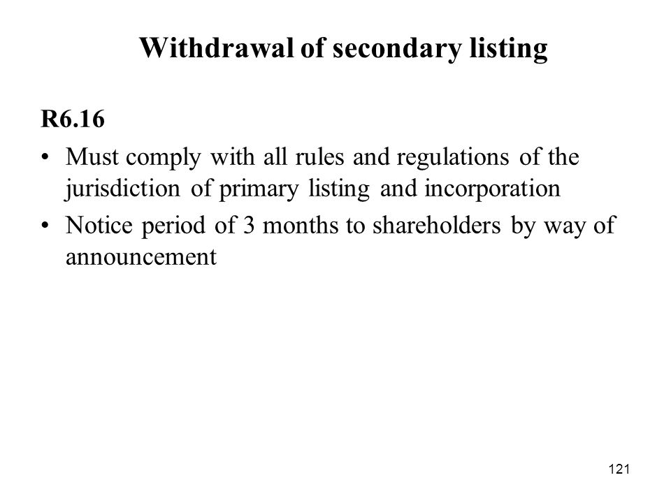 Withdrawal of secondary listing