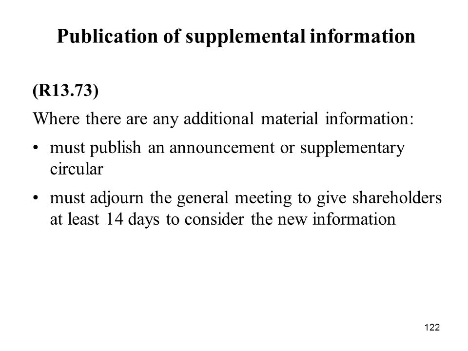 Publication of supplemental information