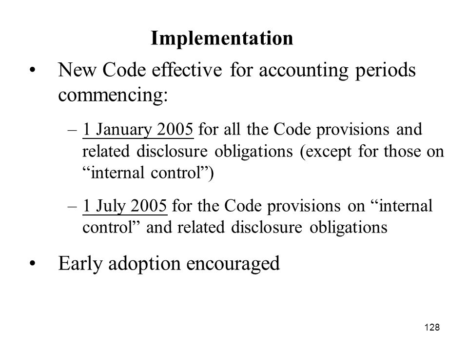 New Code effective for accounting periods commencing: