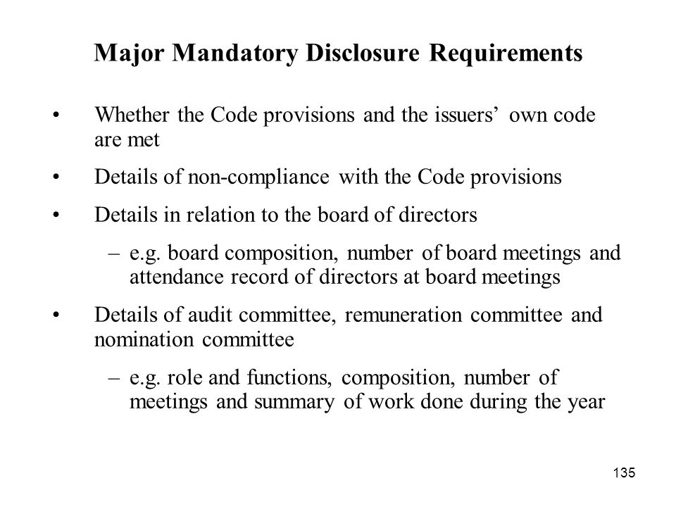 Major Mandatory Disclosure Requirements
