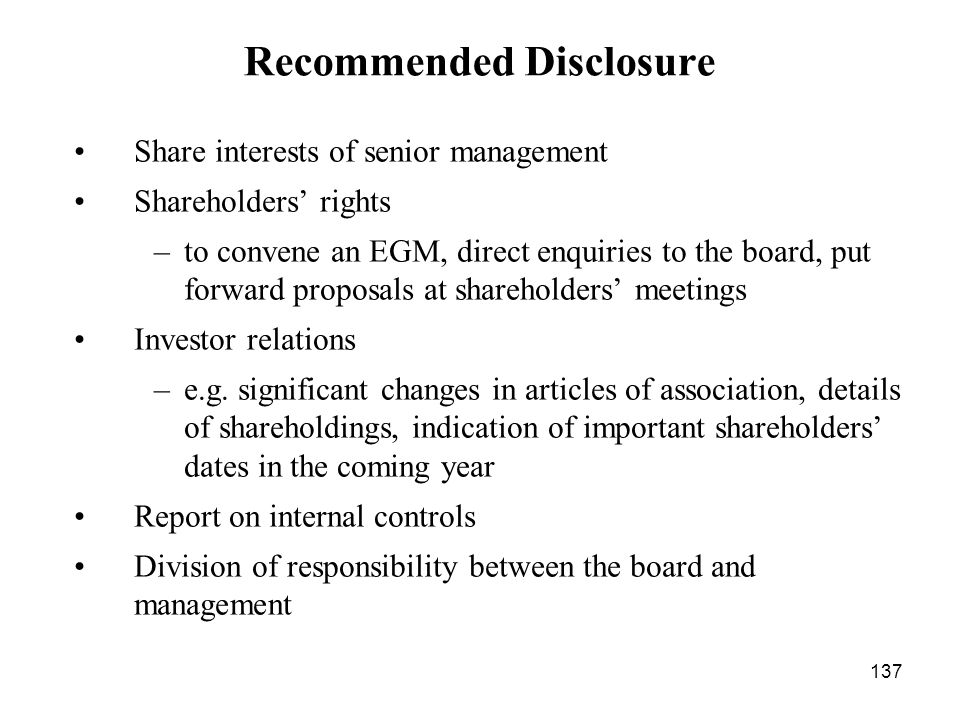 Recommended Disclosure