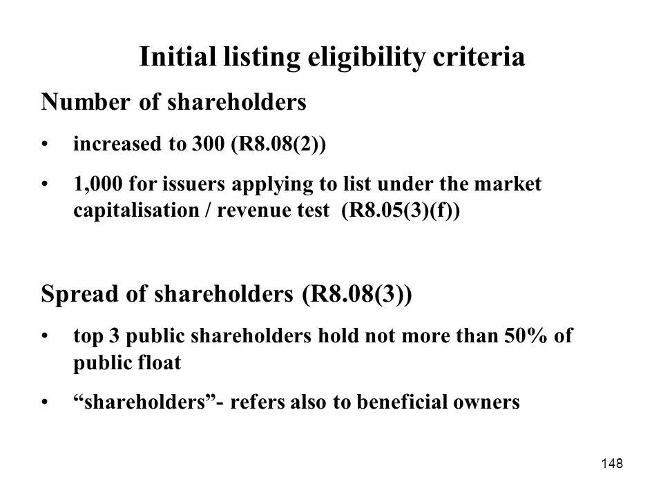 Initial listing eligibility criteria