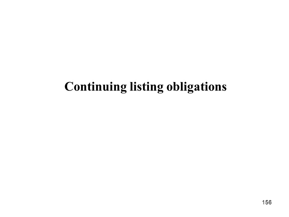 Continuing listing obligations