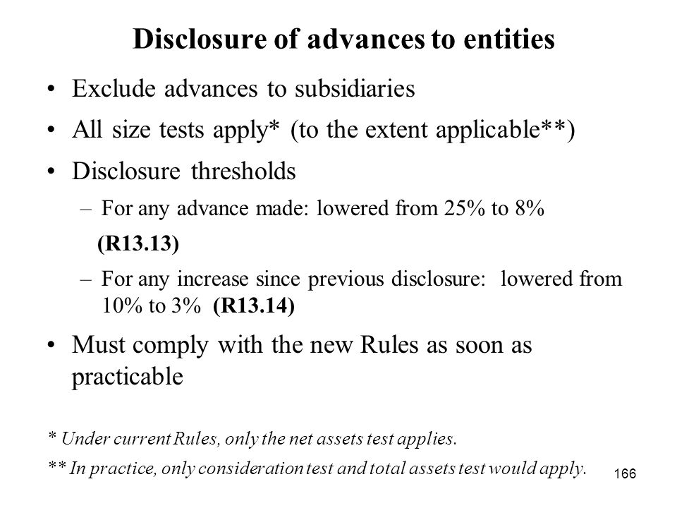 Disclosure of advances to entities