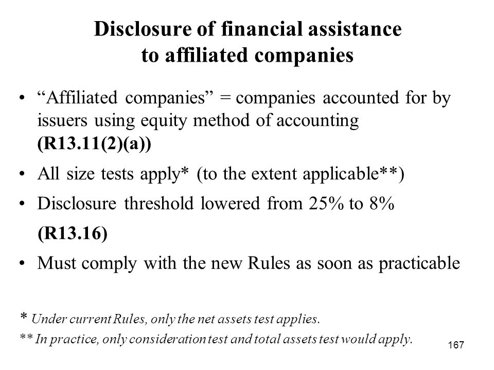 Disclosure of financial assistance to affiliated companies